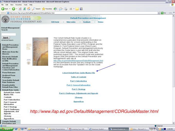 http://www.ifap.ed.gov/DefaultManagement/CDRGuideMaster.html