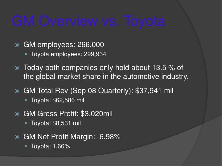 GM Overview vs. Toyota