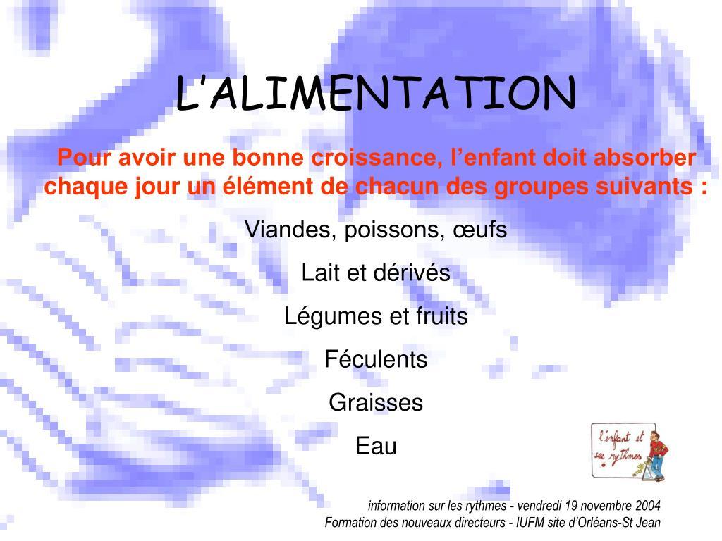 L'ALIMENTATION
