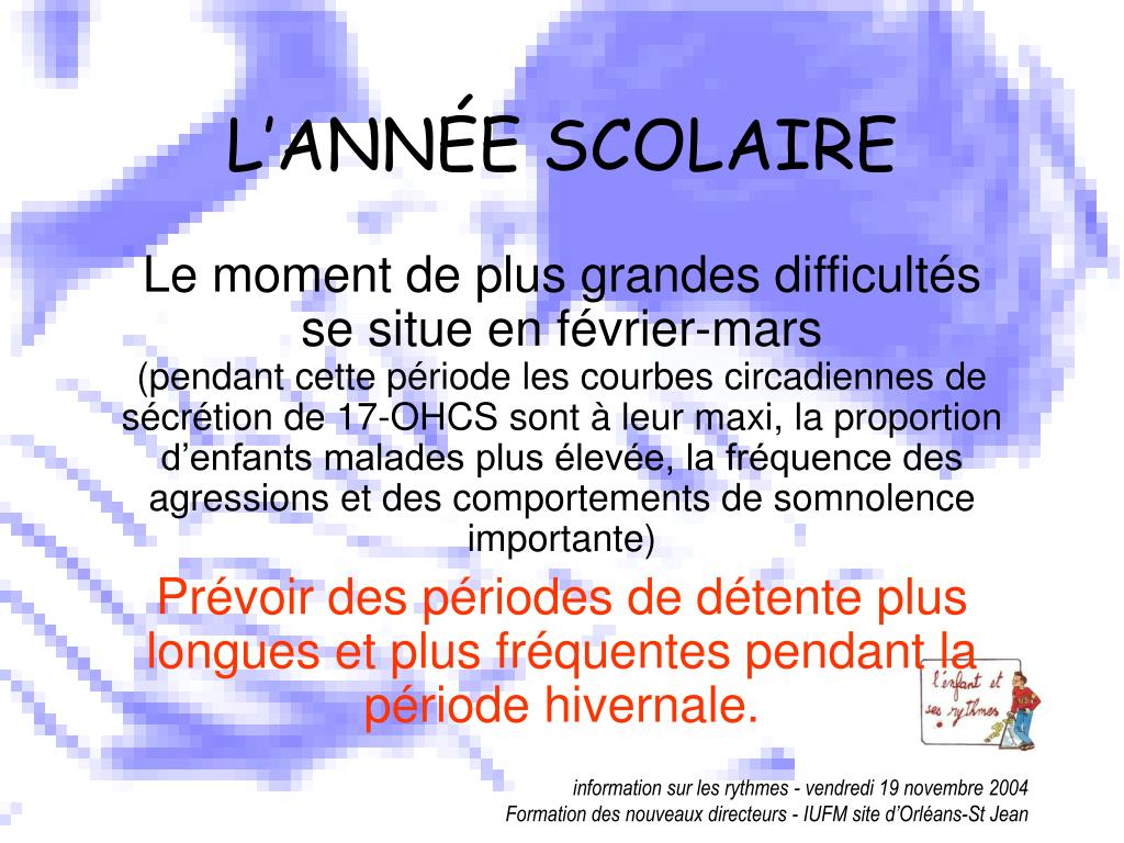 L'ANNÉE SCOLAIRE