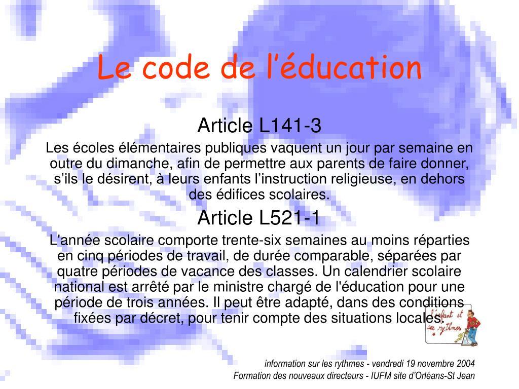 Le code de l'éducation
