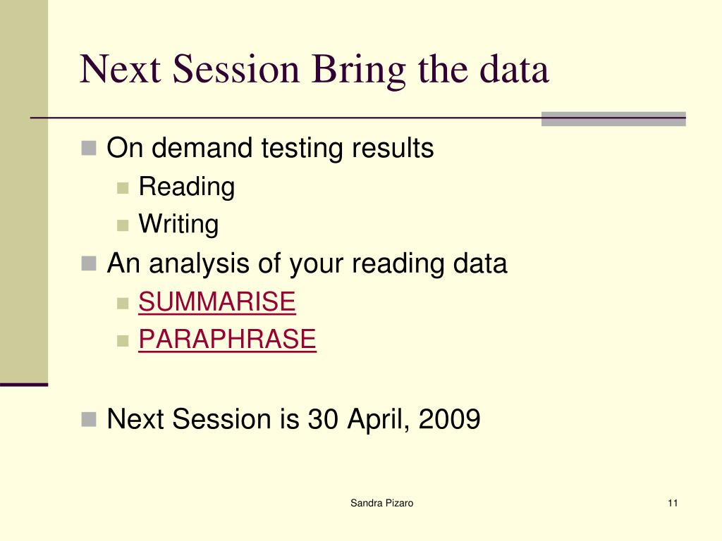 Next Session Bring the data