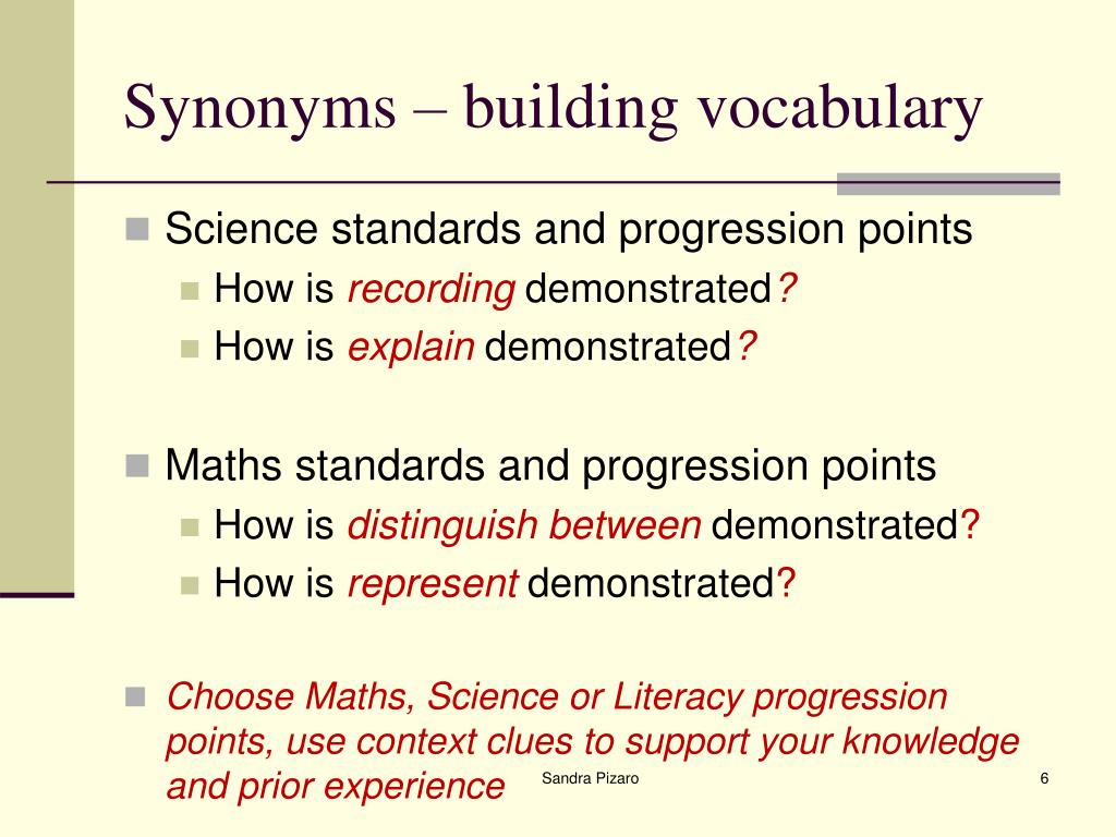 Synonyms – building vocabulary