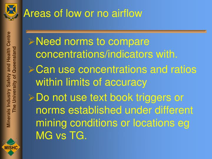Areas of low or no airflow