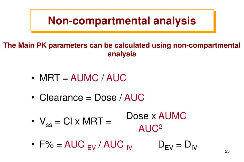 The Main PK parameters can be calculated using non-compartmental analysis