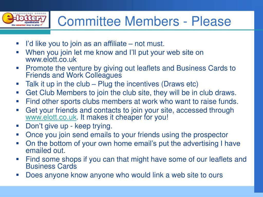Committee Members - Please