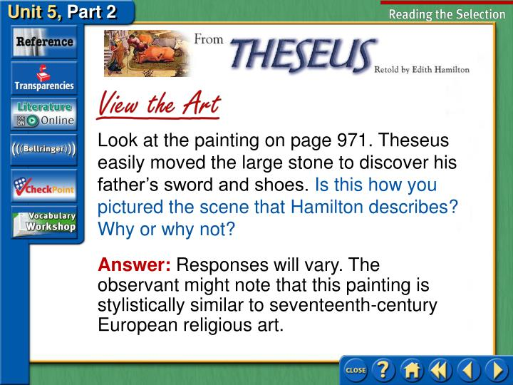 Look at the painting on page 971. Theseus easily moved the large stone to discover his father's sword and shoes.