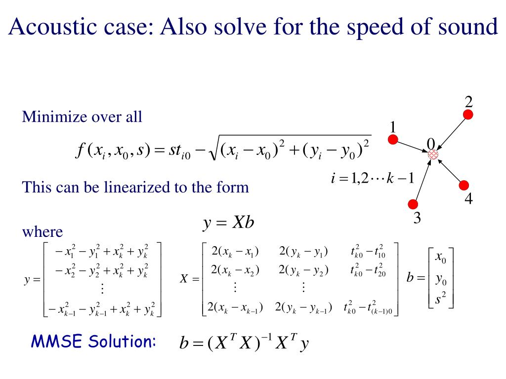 Acoustic case: Also solve for the speed of sound