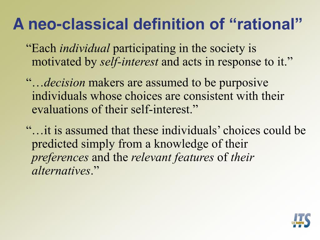"A neo-classical definition of ""rational"""