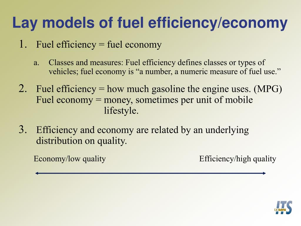 Lay models of fuel efficiency/economy
