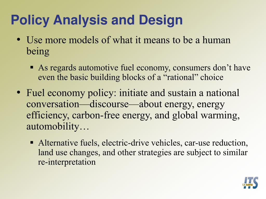 Policy Analysis and Design