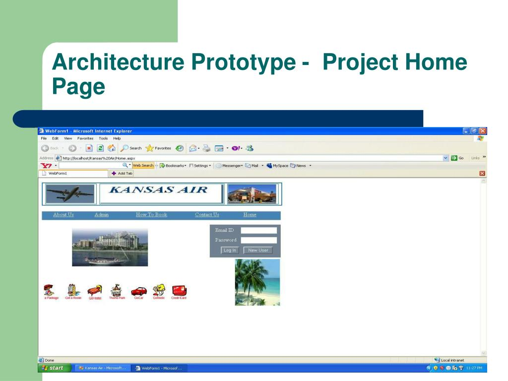 Architecture Prototype -  Project Home Page