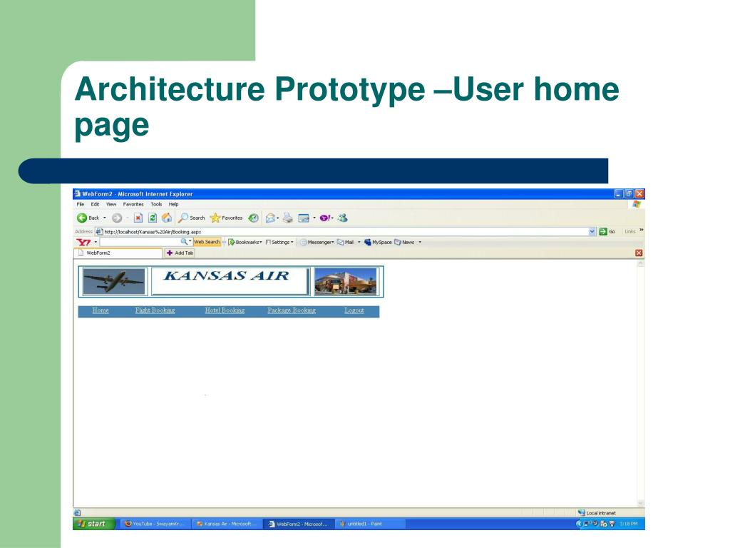 Architecture Prototype –User home page