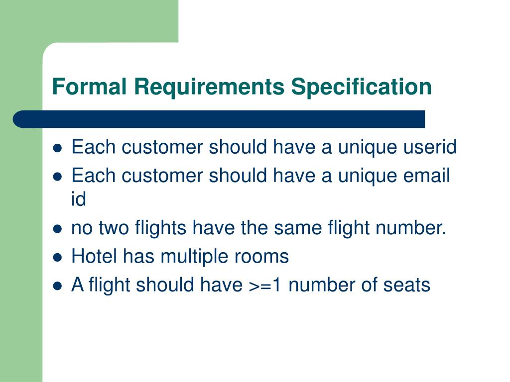 Formal Requirements Specification
