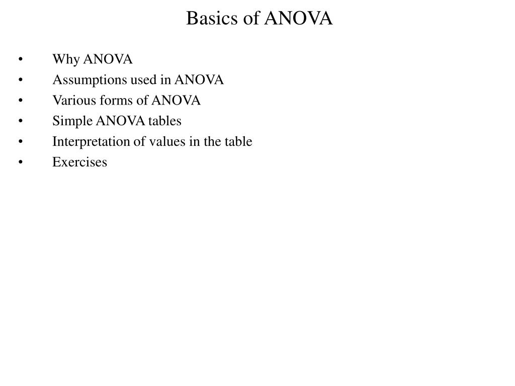Basics of ANOVA