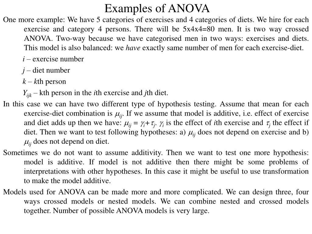 Examples of ANOVA