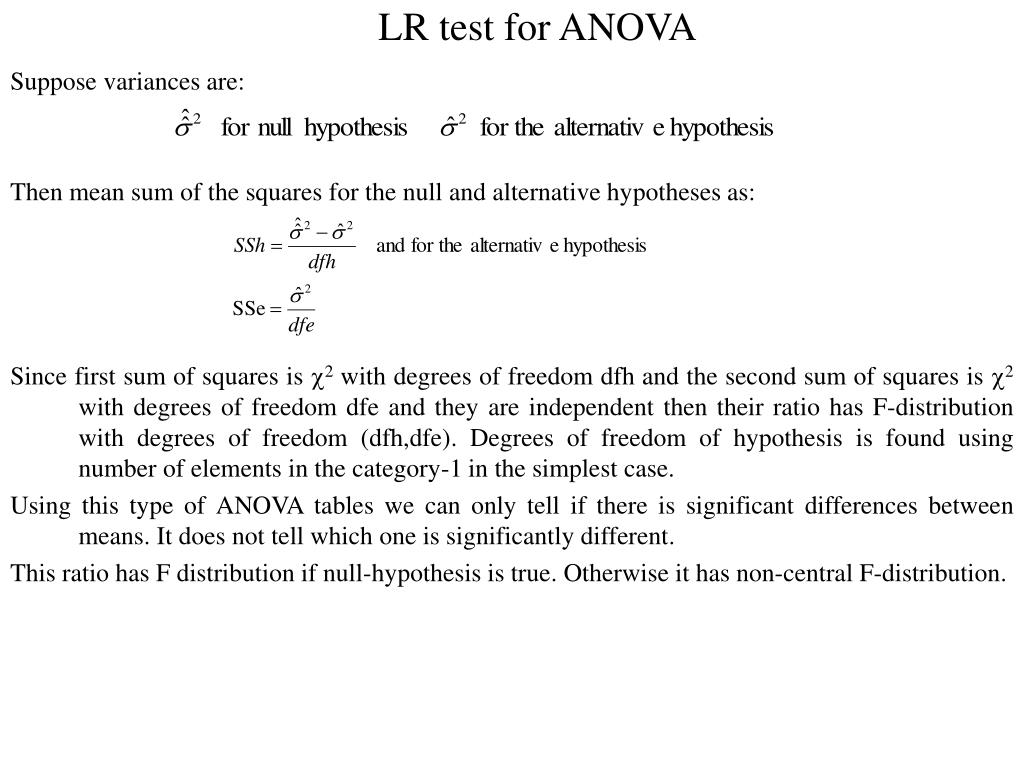 LR test for ANOVA