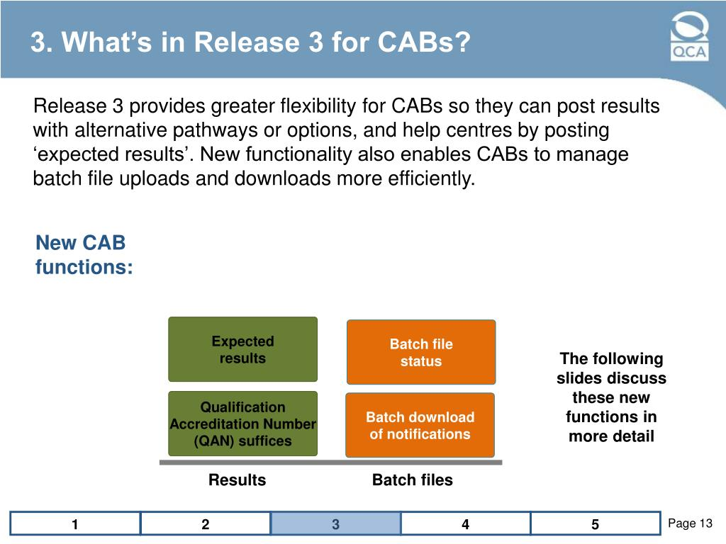 3. What's in Release 3 for CABs?