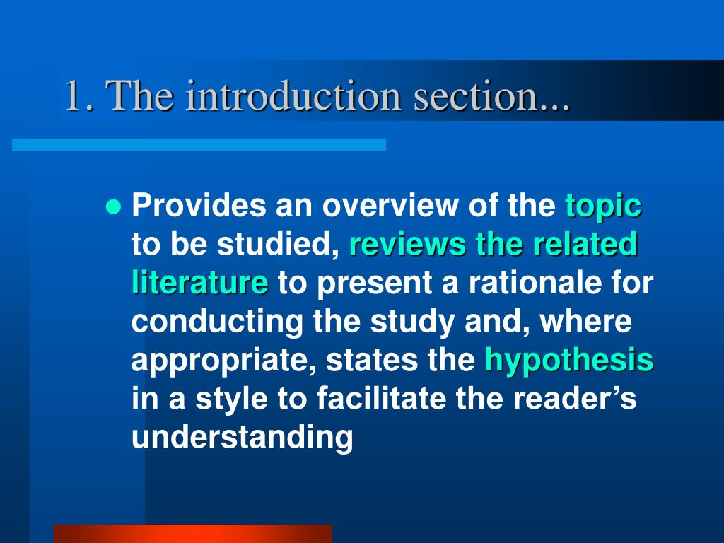 1. The introduction section...