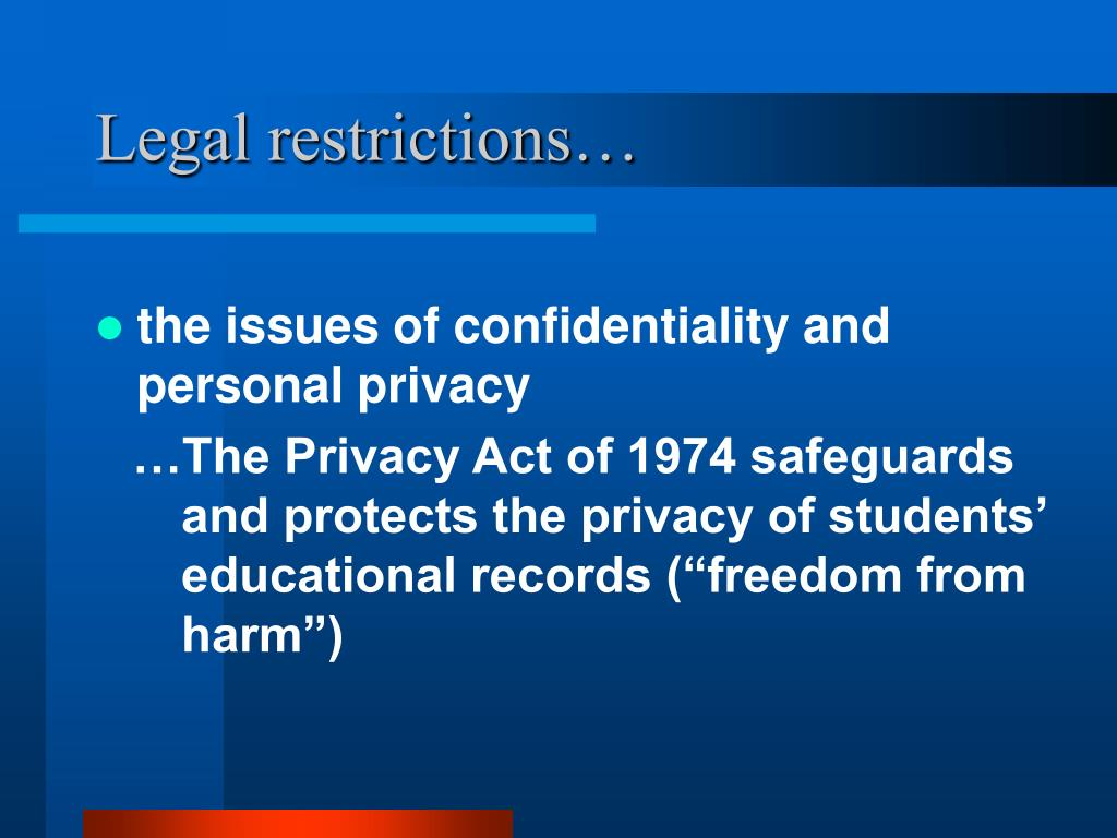 Legal restrictions…