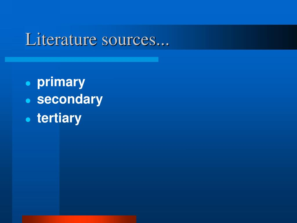 Literature sources...