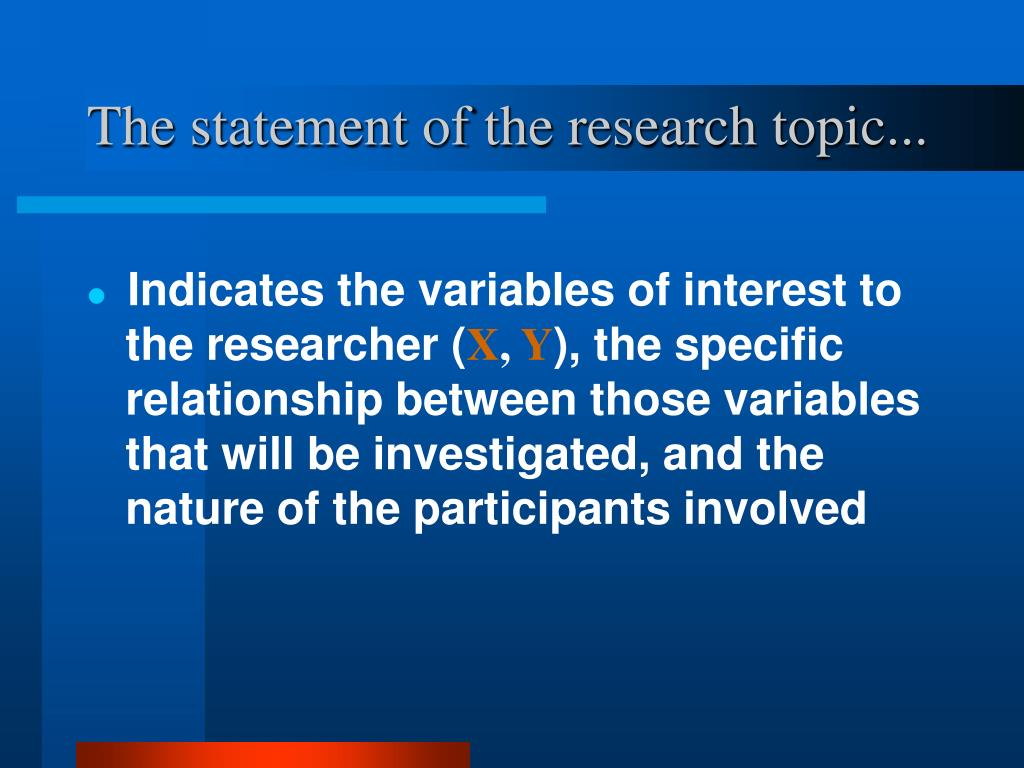 The statement of the research topic...