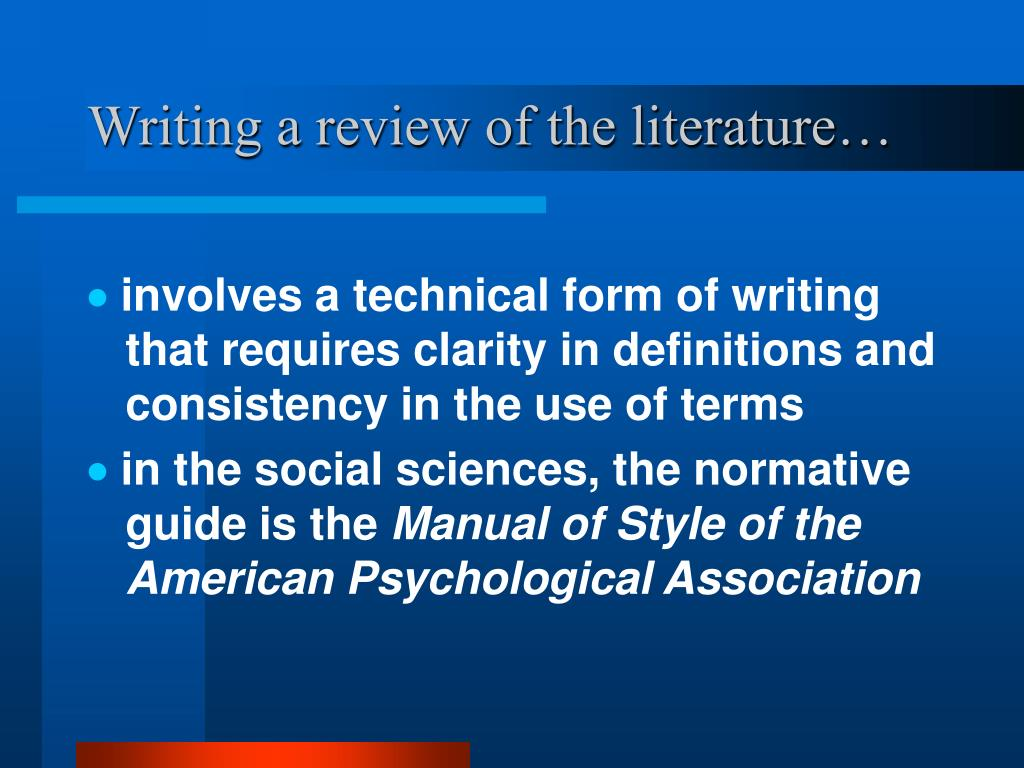 Writing a review of the literature…