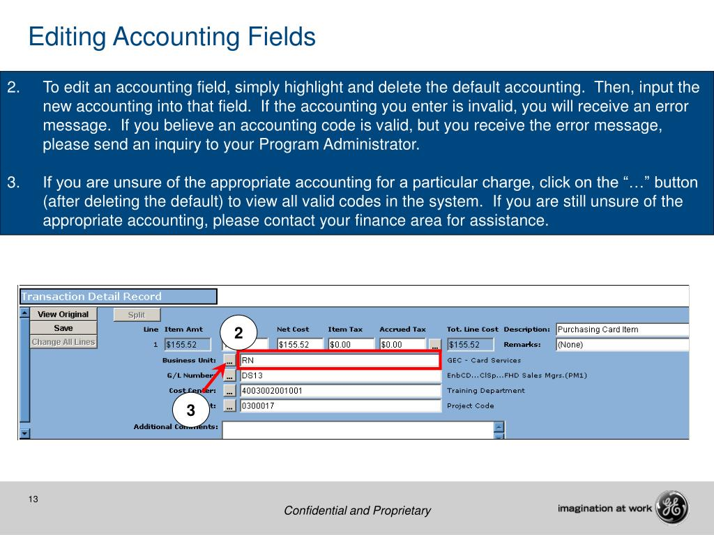 Editing Accounting Fields