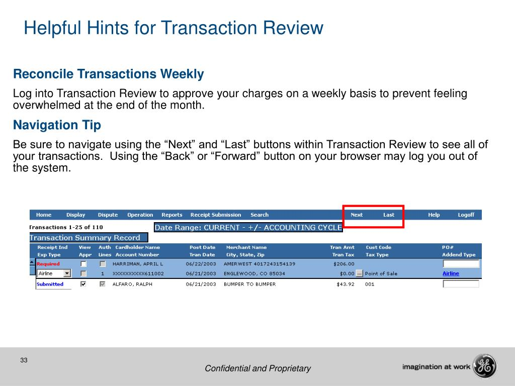 Helpful Hints for Transaction Review