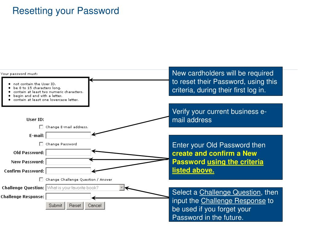 New cardholders will be required to reset their Password, using this criteria, during their first log in.