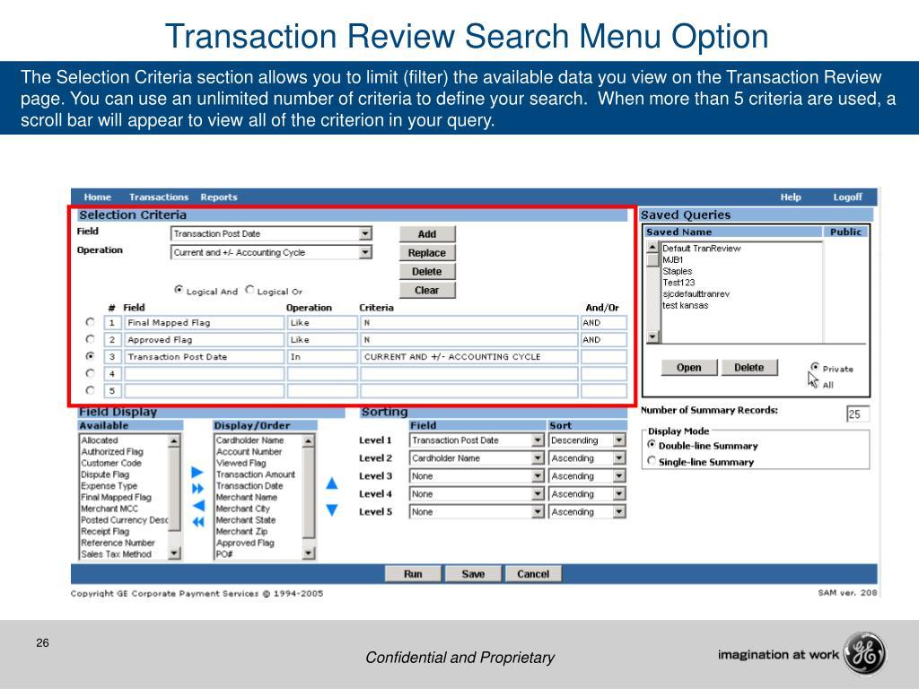 Transaction Review Search Menu Option