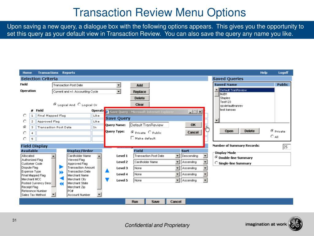 Transaction Review Menu Options