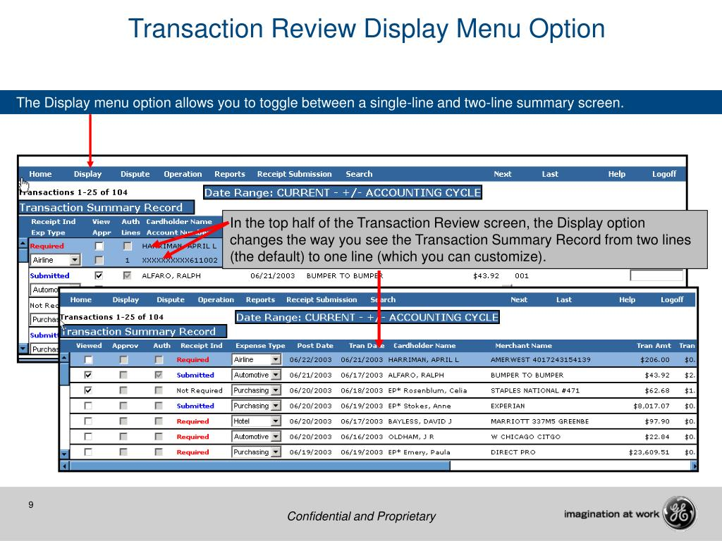 Transaction Review Display Menu Option