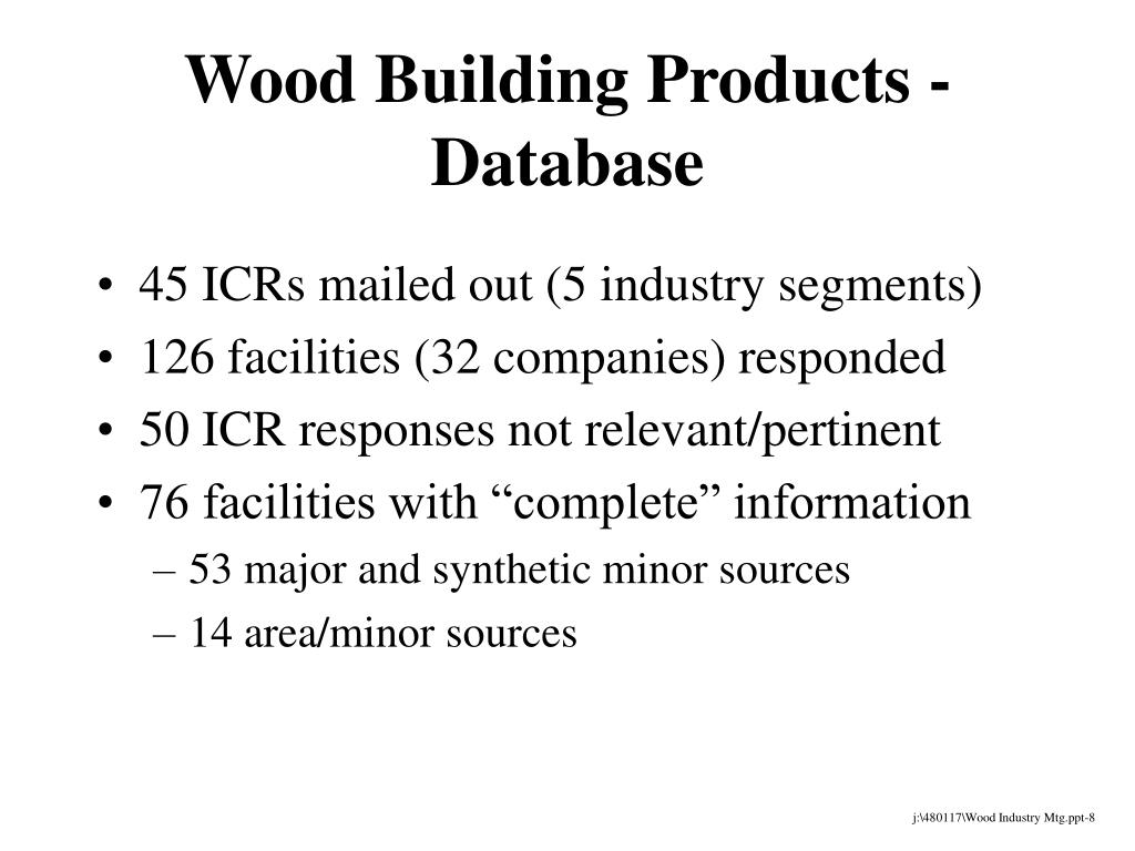 Wood Building Products - Database
