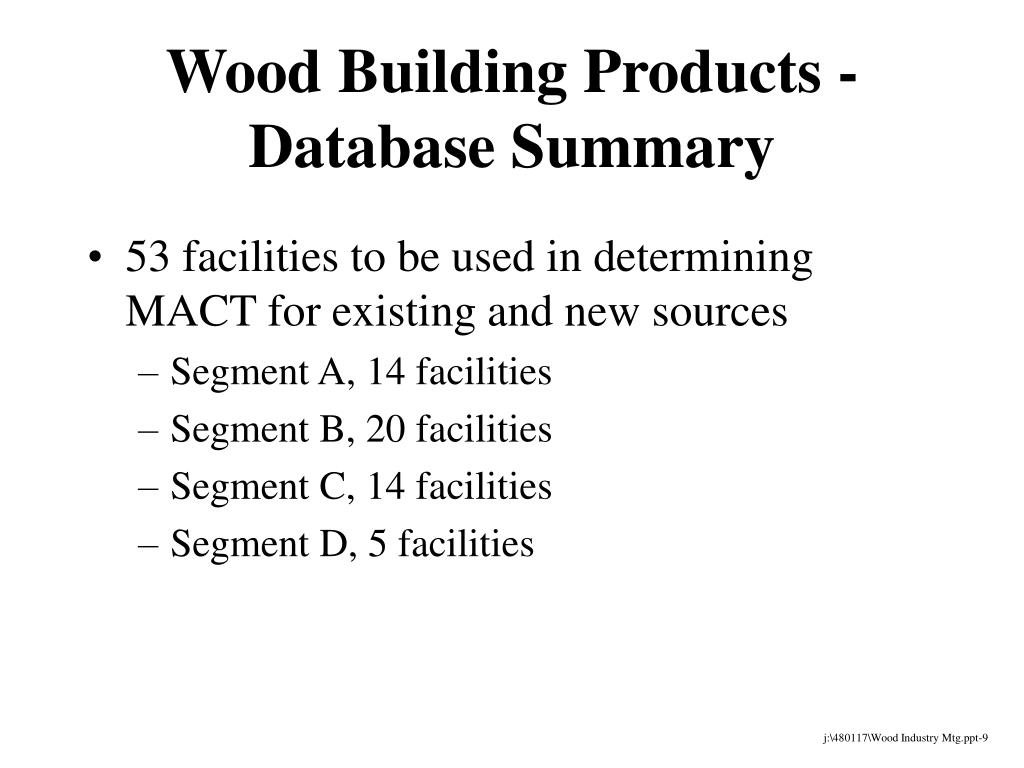 Wood Building Products - Database Summary