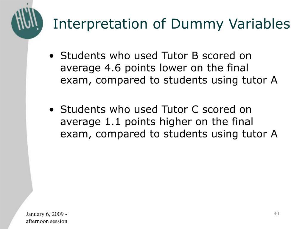 Interpretation of Dummy Variables
