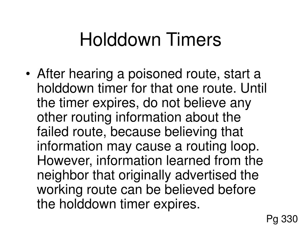 Holddown Timers
