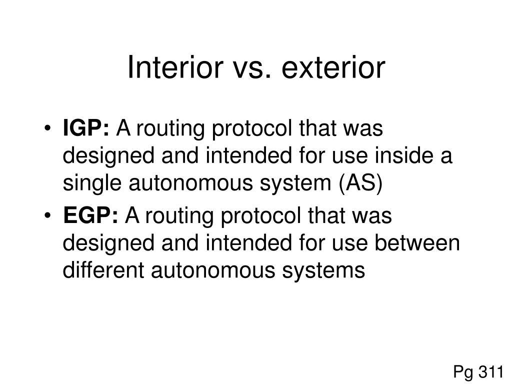 Interior vs. exterior