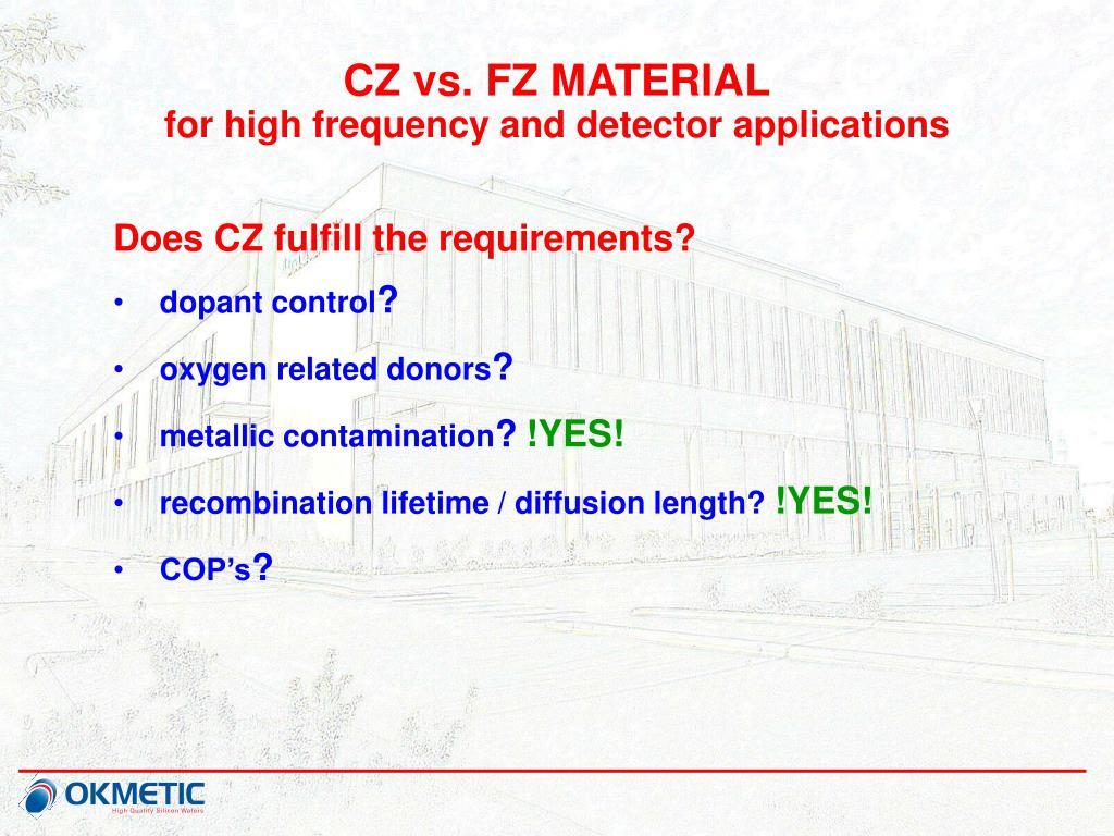 CZ vs. FZ MATERIAL