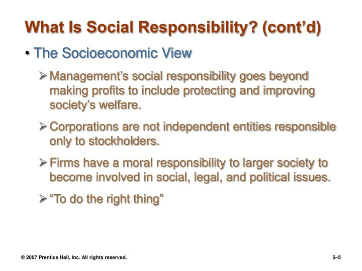 What Is Social Responsibility? (cont'd)