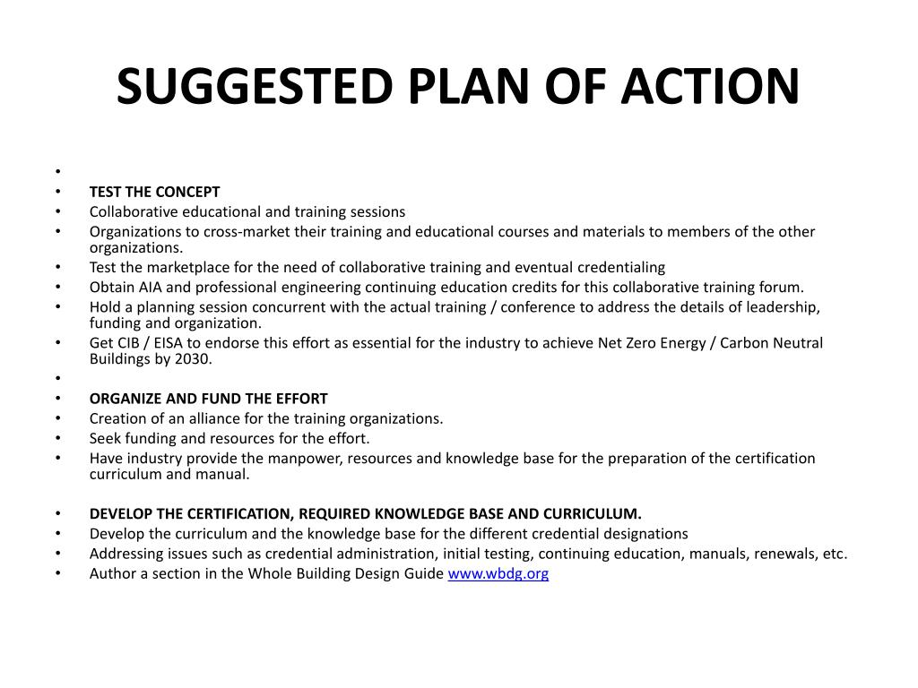 SUGGESTED PLAN OF ACTION