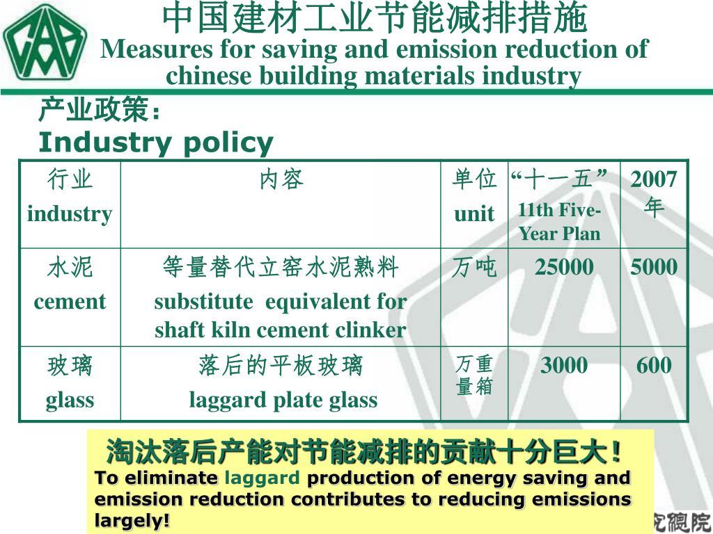 中国建材工业节能减排措施