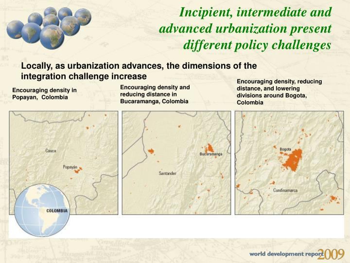 Incipient, intermediate and advanced urbanization present different policy challenges