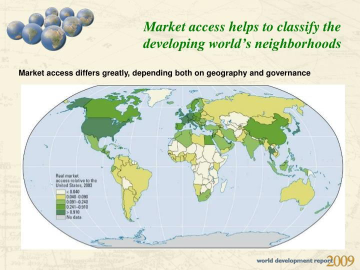 Market access helps to classify the developing world's neighborhoods