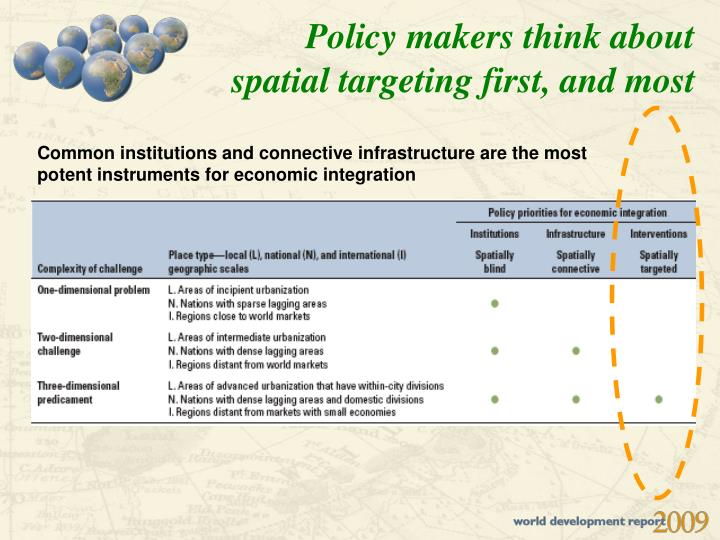 Policy makers think about spatial targeting first, and most