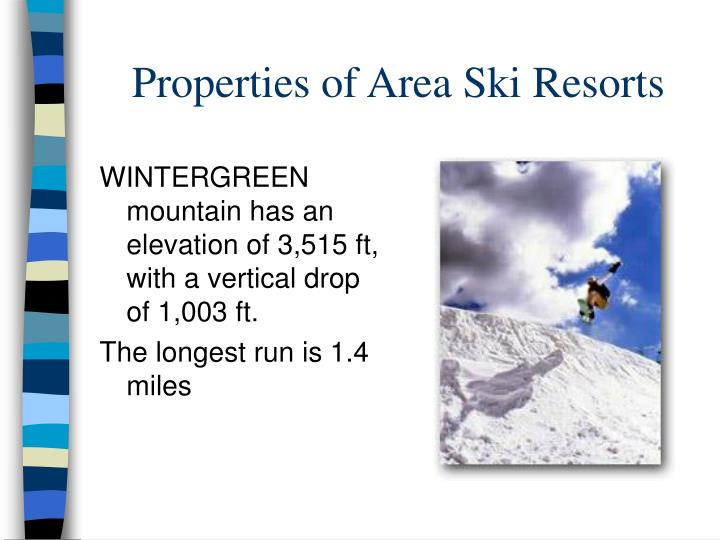 Properties of Area Ski Resorts