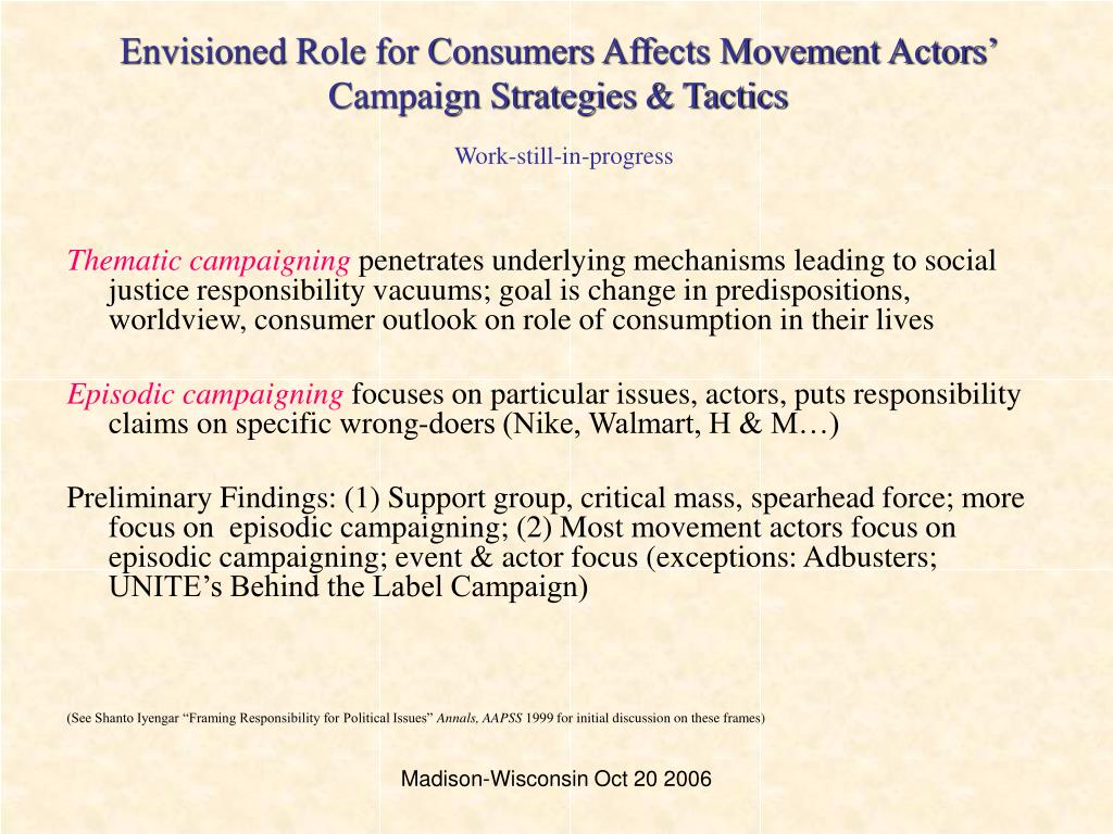 Envisioned Role for Consumers Affects Movement Actors' Campaign Strategies & Tactics