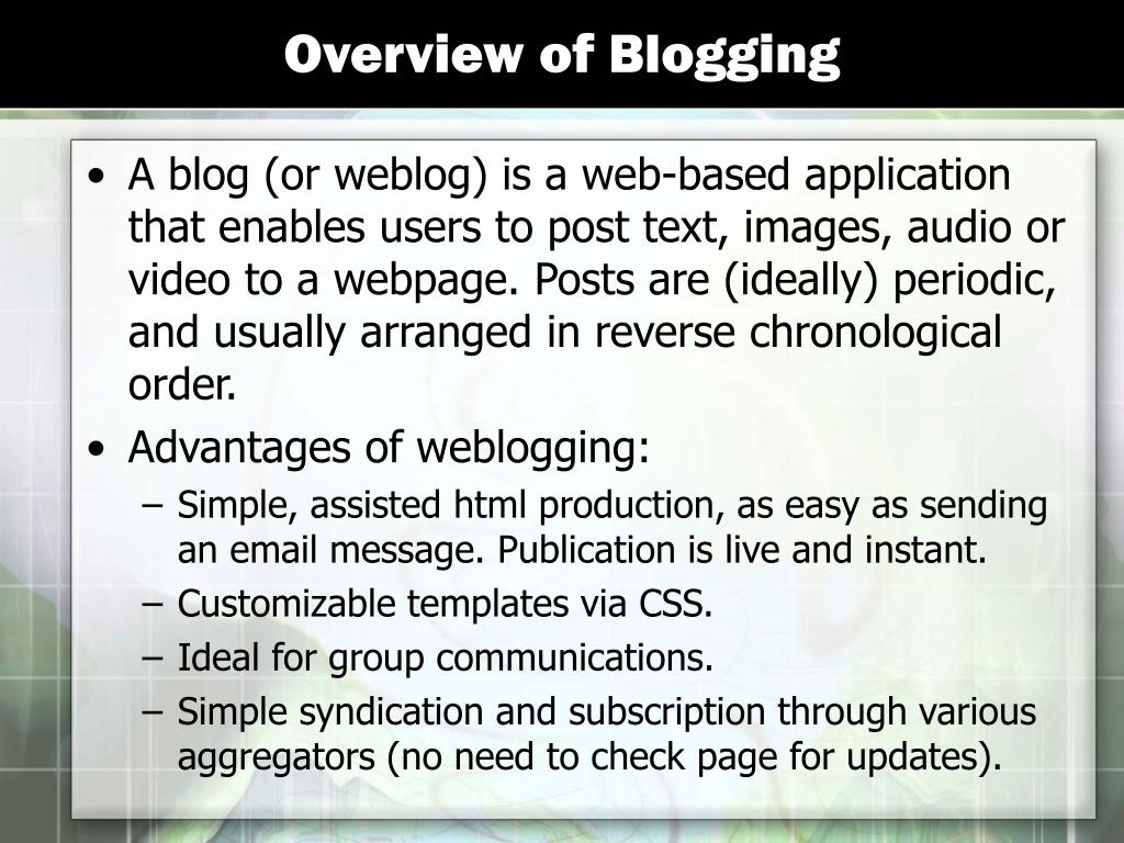 Overview of Blogging