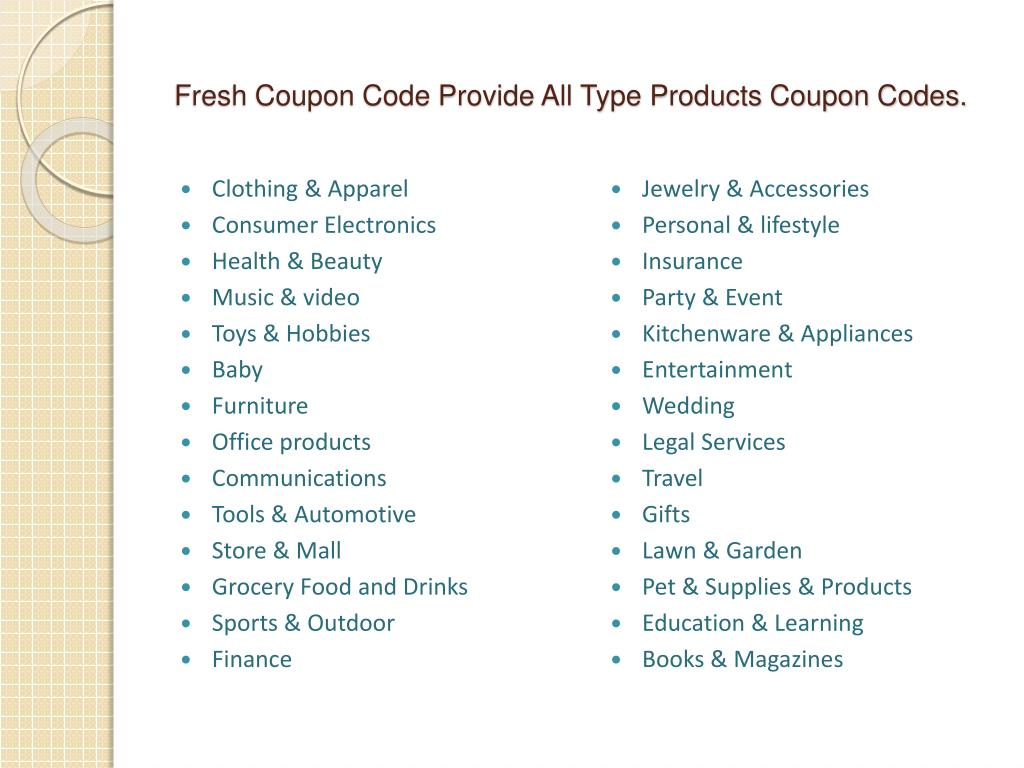 Fresh Coupon Code Provide All Type Products Coupon Codes.