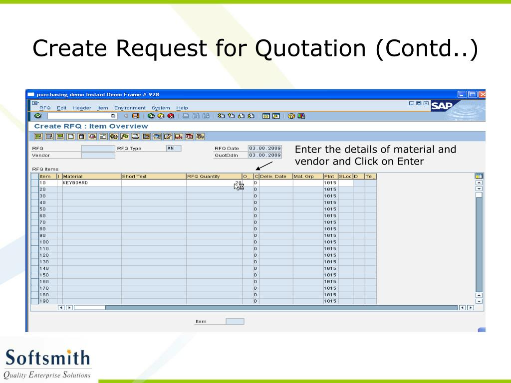 Create Request for Quotation (Contd..)